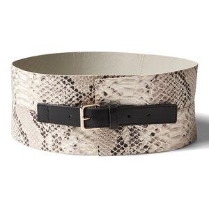 Olivia Palermo snake effect leather corset belt